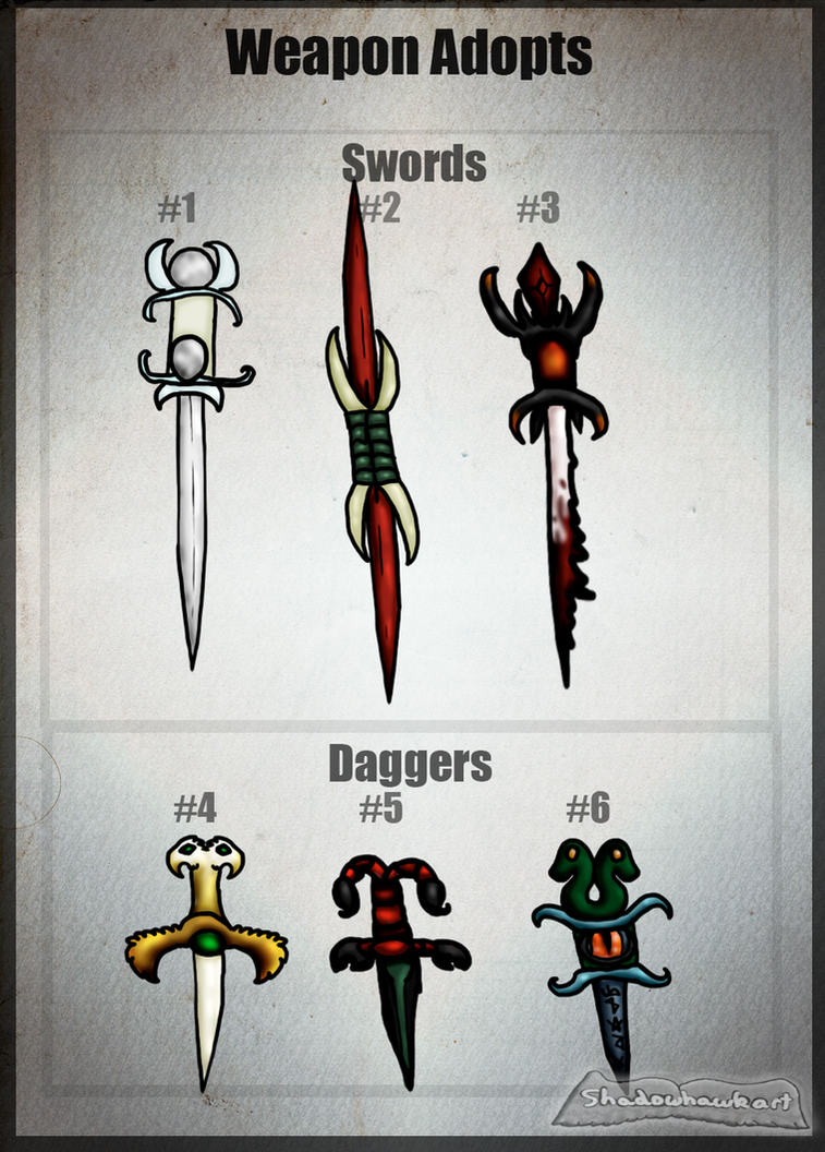 Sword + Dagger Adopts (Auction) CLOSED by Shadowhawk-Adopts
