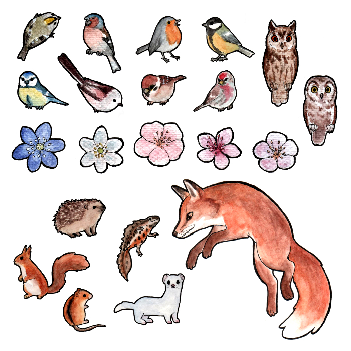 Nature stickers by ShrubSparrow