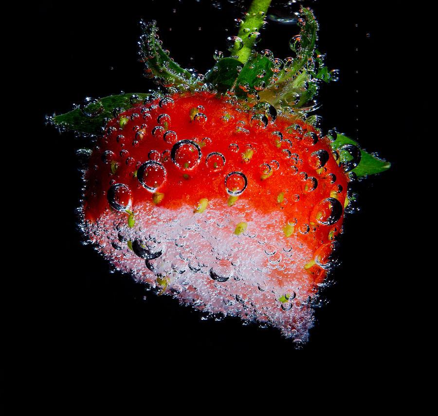 Strawberry I ate half black ed by brokenbokeh