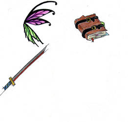 Fairy wings, a katana and a book spell