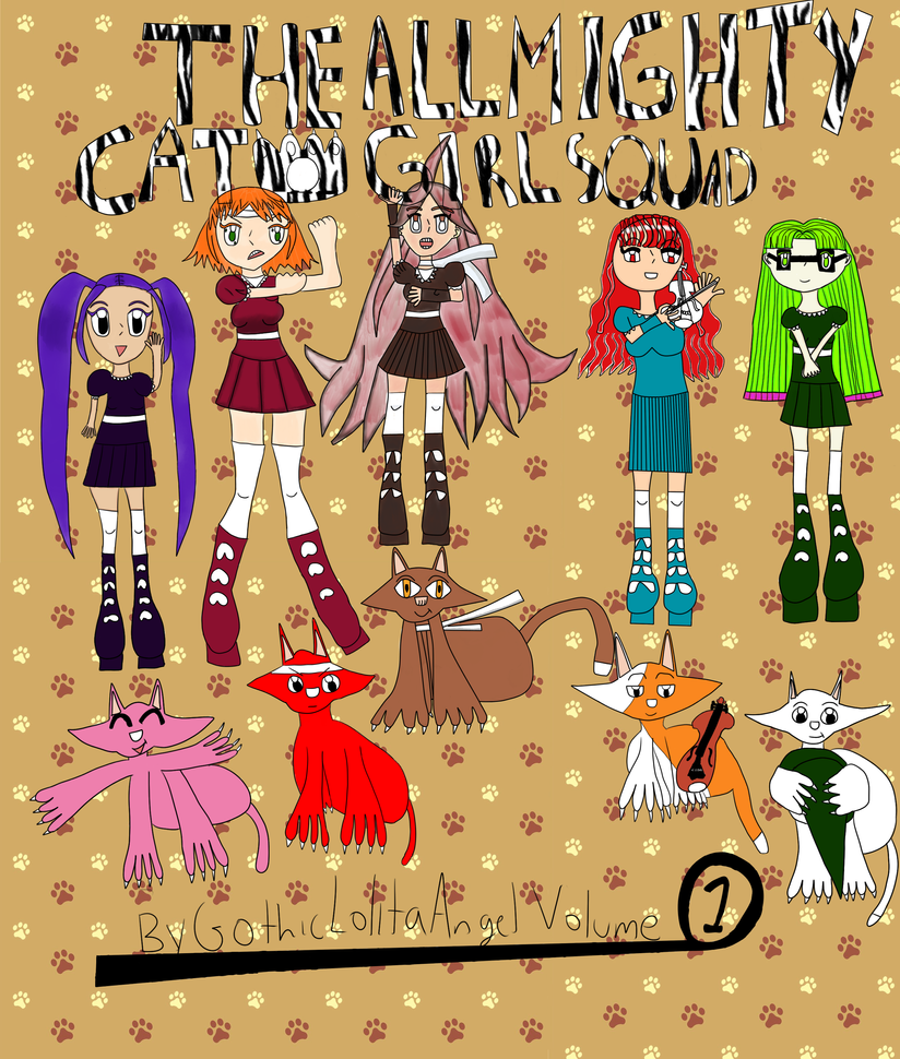 The All Mighty Catgirl Squad Manga Cover by GothicLolitaAngel