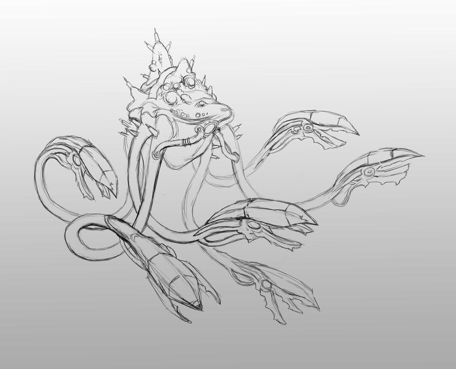 reaper hanar line art by AndrewRyanArt