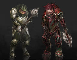 Dragon Effect- Grunt and Wrex by AndrewRyanArt