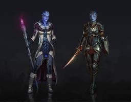 Dragon Effect: Liara and Samara by AndrewRyanArt