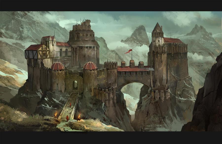 hillside stronghold by AndrewRyanArt