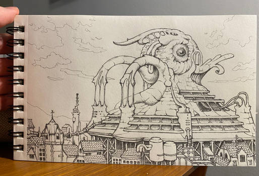 Alien Factory Town pencil drawing.