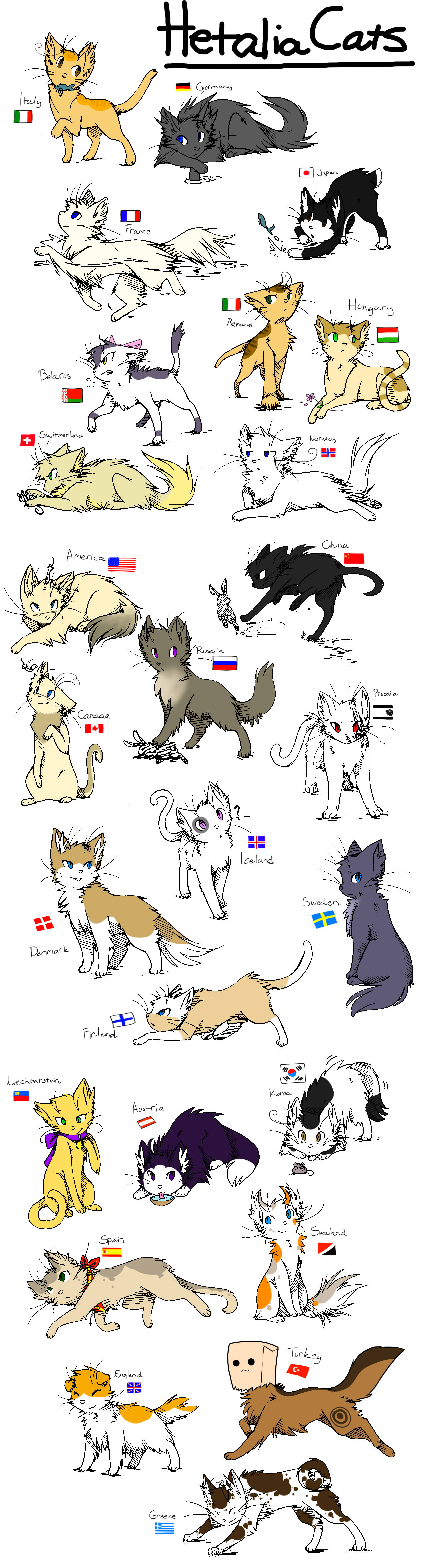 Hetalia Cats by ShootingStar2552