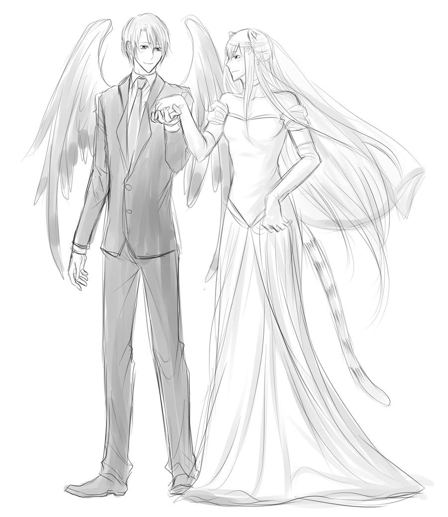 Line Drawing Wedding Couple : Volsa wedding sketch by minghii on deviantart