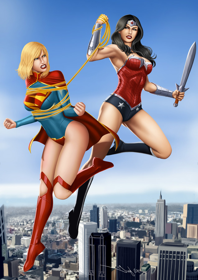 Commission: Wonder Woman vs Supergirl by iurypadilha