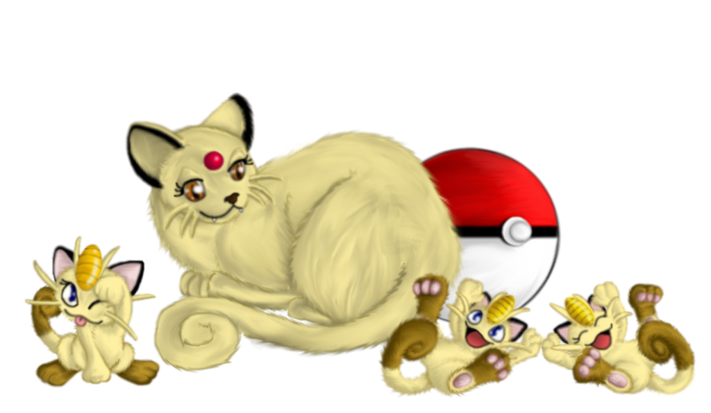 Pokemon - Mama Persian and Meowth Kittens by Ravyn-Karasu ...