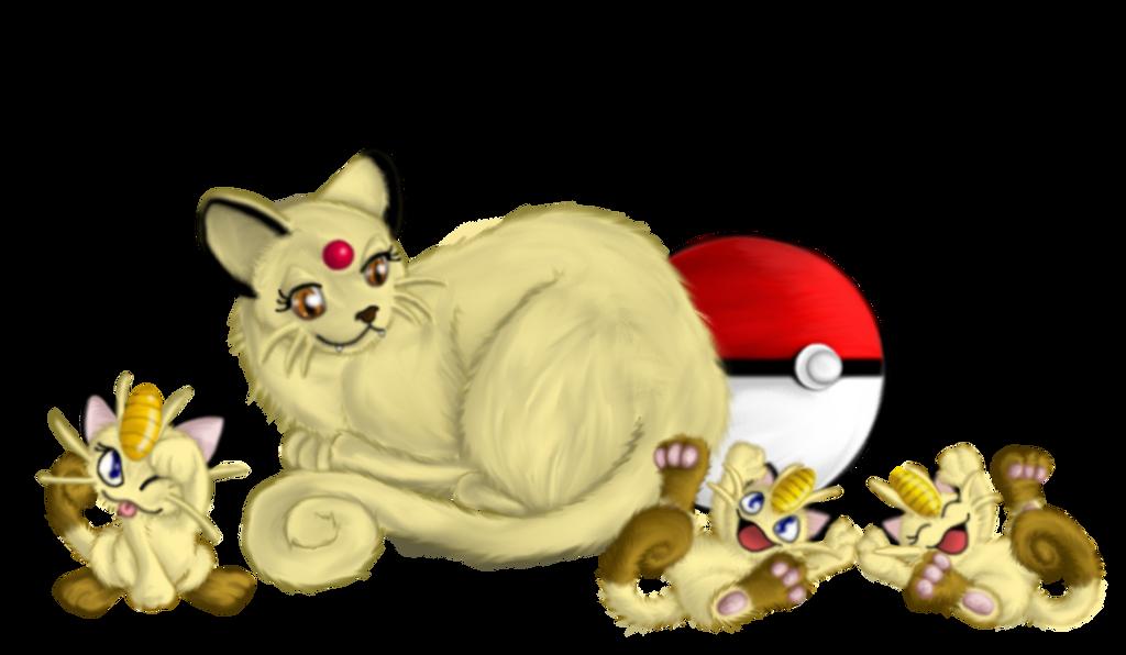 Pokemon - Mama Persian and Meowth Kittens by Ravyn-Karasu ...