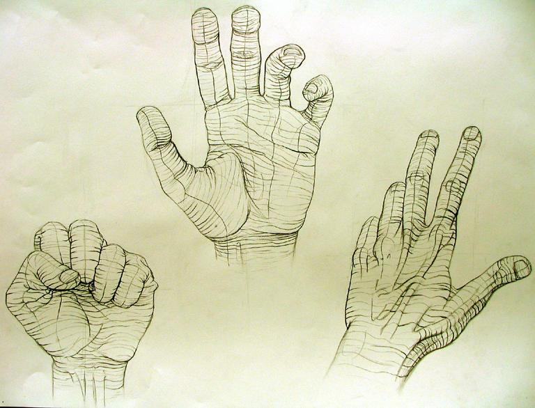 Cross Contour Hand Study 1 by nosurprises on DeviantArt