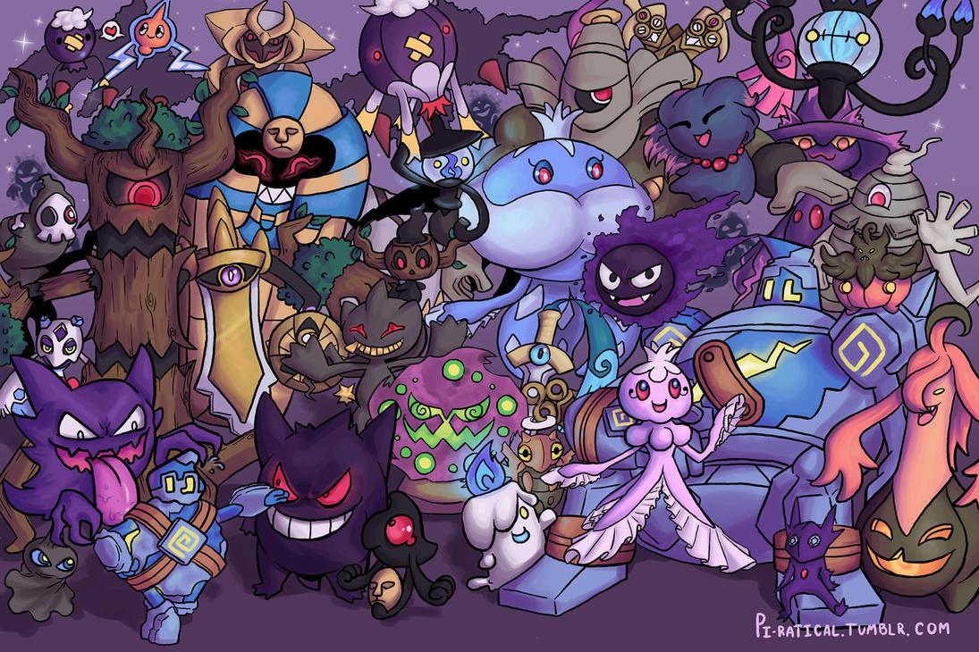 Grim grinning ghost types by darkkako on deviantart - Pokemon ghost wallpaper ...
