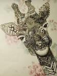 Giraffe Doodle with black fine liner
