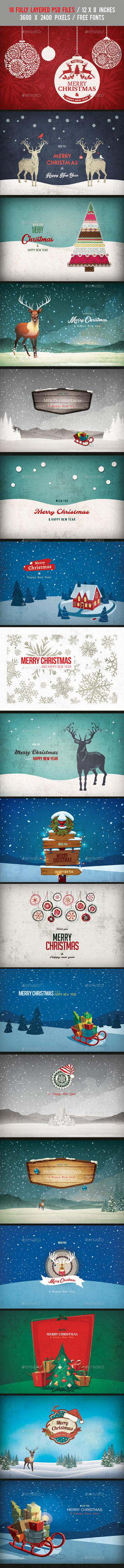 18 Christmas Backgrounds/Cards - Bundle Vol.1 by another-graphic