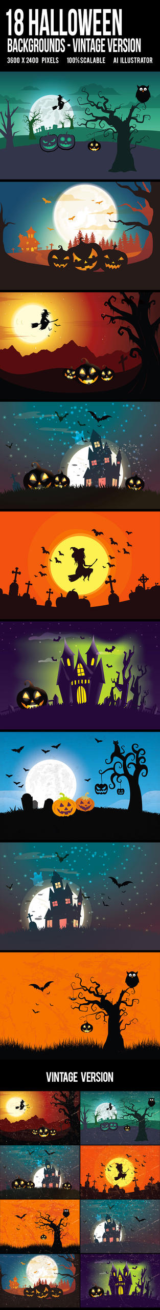 18 Halloween Backgrounds/Cards Landscape by another-graphic