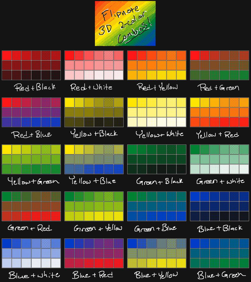 2 Color Combination Flipnote 3d 2 Color Combo Chart Flat By Cloudyrei On