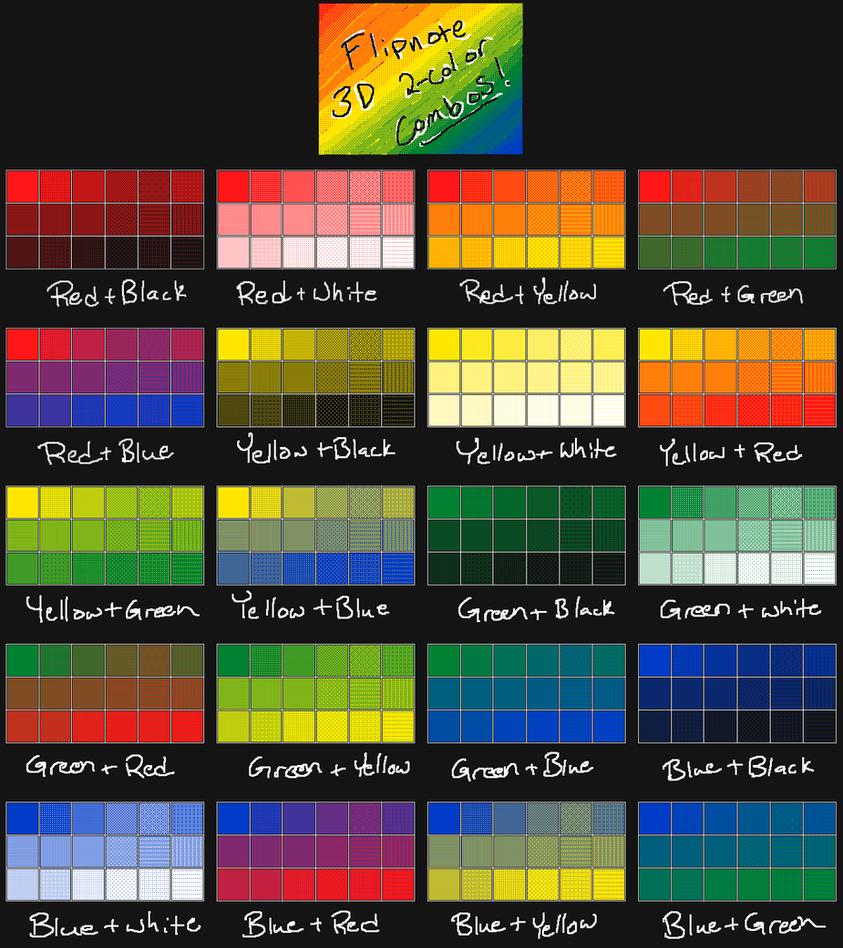 Flipnote 3d 2 Color Combo Chart Flat By Cloudyrei On