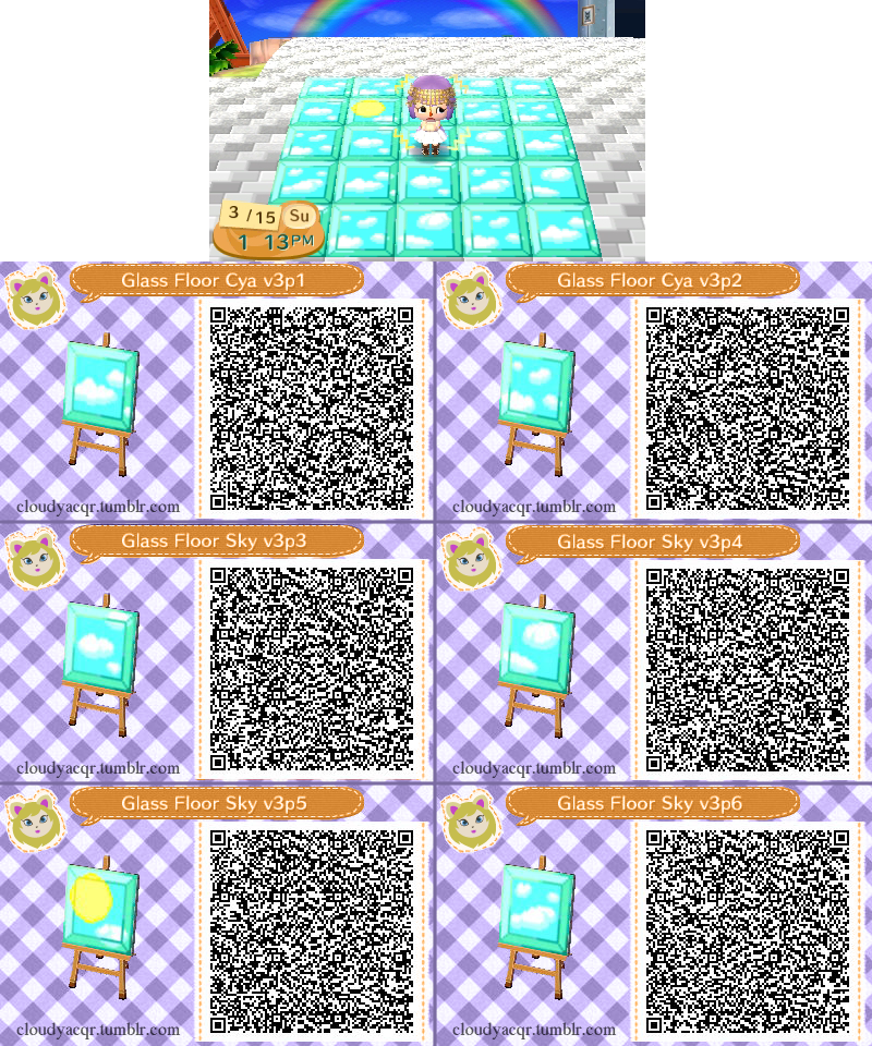 Animal crossing qr glass floor sky 3 by cloudyrei on for Floor qr codes new leaf