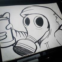 YayoArellano 3 0 Gas mask Graffiti