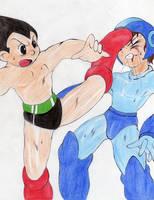 Astroboy vs Megaman by RandyllStorm
