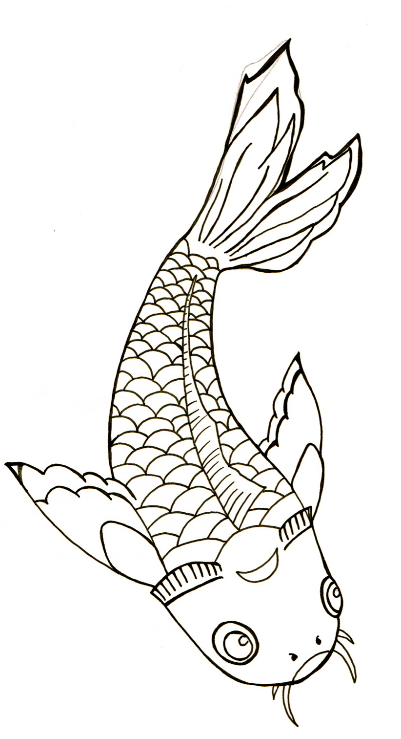 Koi Line Drawing By Peaches1993 On Deviantart