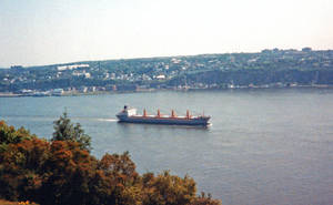 Cargo Ship on the St. Lawrence River