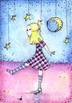 ACEO ATC Dancing on water
