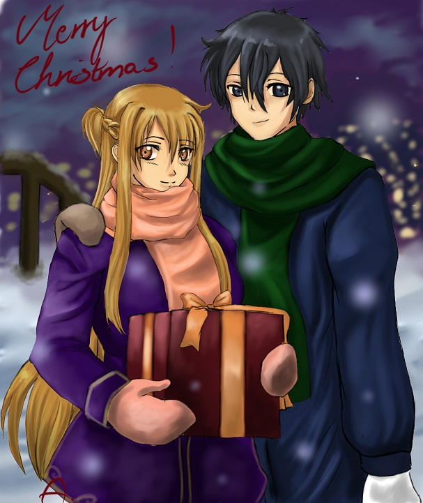 Asuna and Kirito Christmas by Aydalen