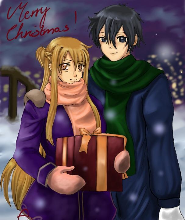Asuna and Kirito Christmas by Aydalen