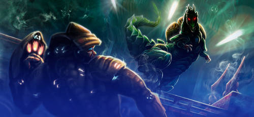 Slaughterdile vs Smashingun: the first encounter. by Miakhano
