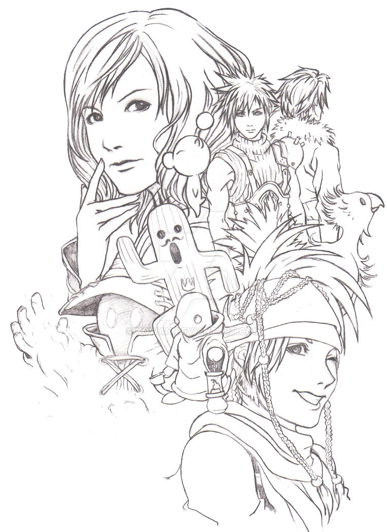 Hail the final fantasy lineart by kowan on deviantart for Final fantasy coloring pages