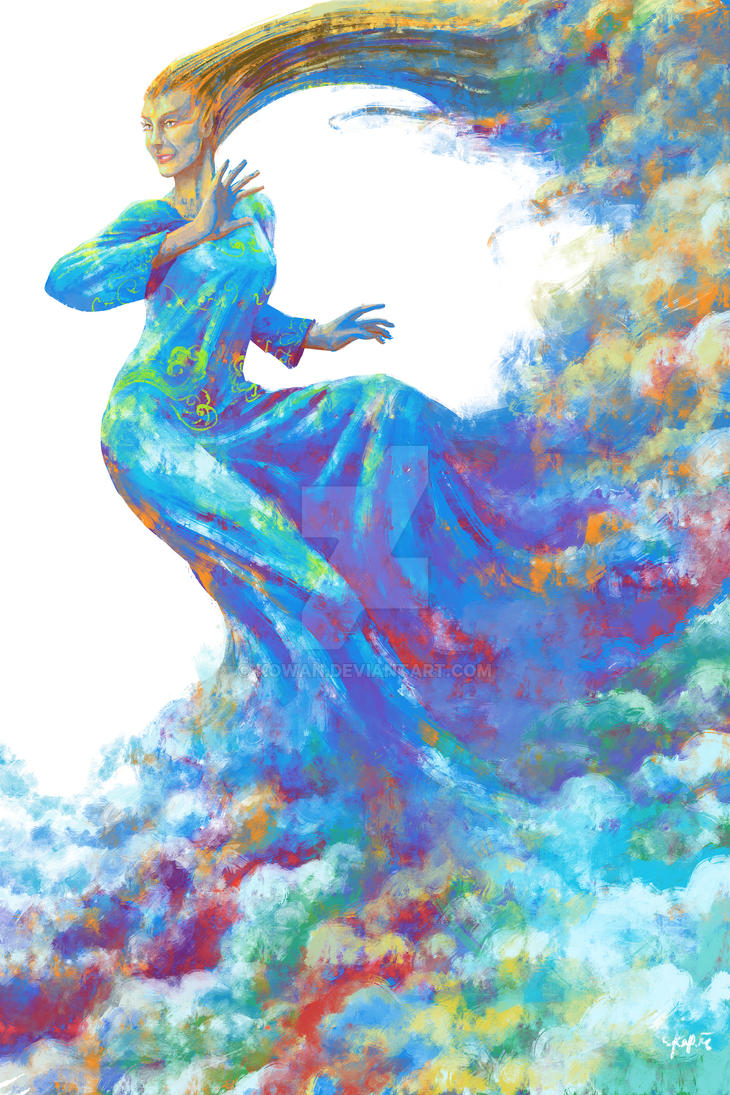 Rainbow vomit cloud woman by kowan