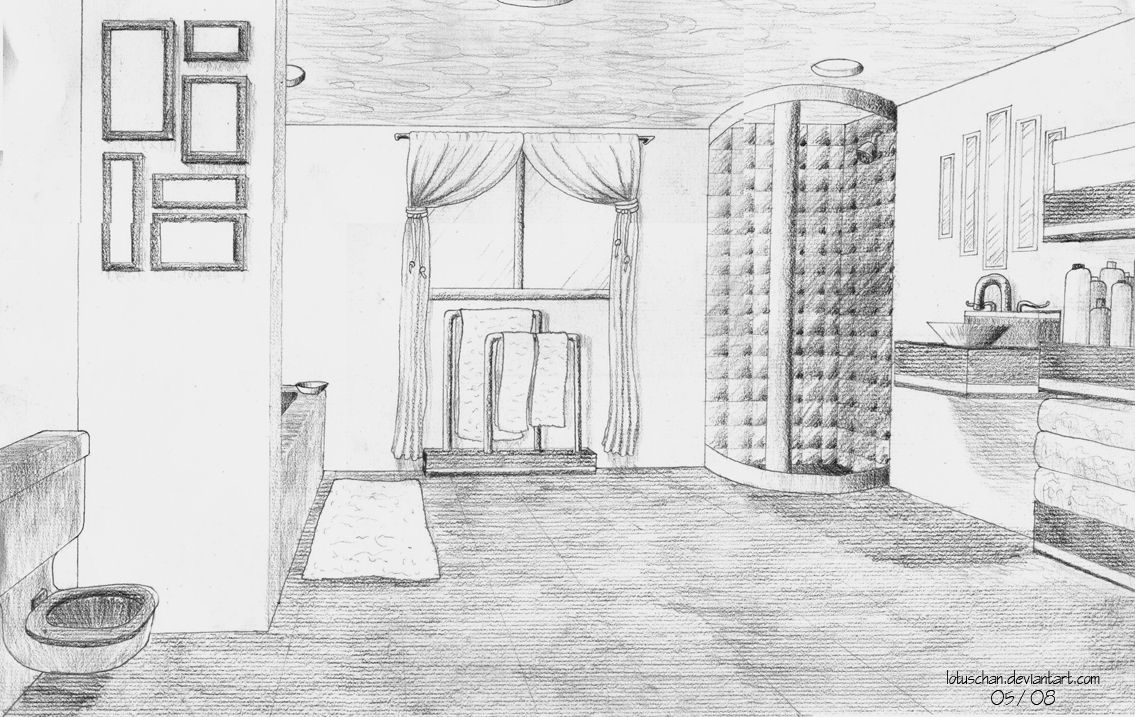 Bathroom perspective drawing -  May 08 One Point Perspective By Kristenmachina