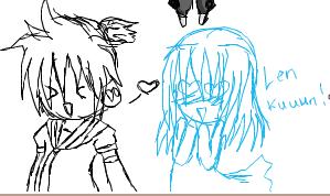 Chibi Len and random fangirl by ti-sasuke