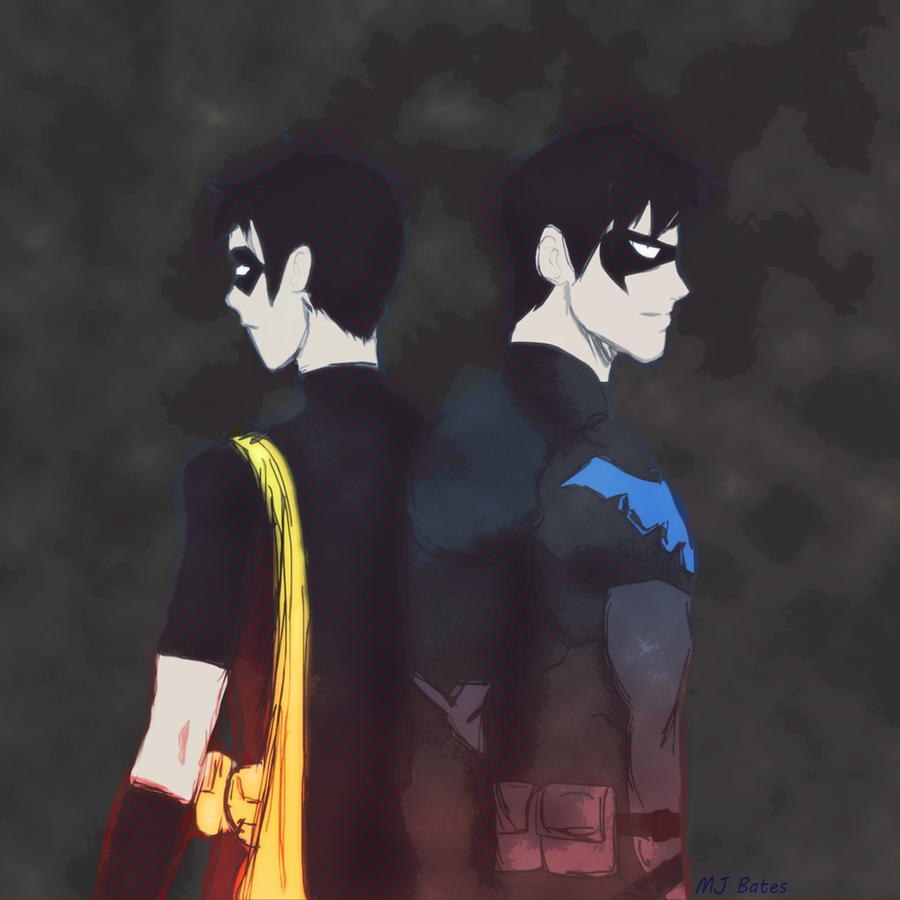 Robin to Nightwing by BoxOfNinja