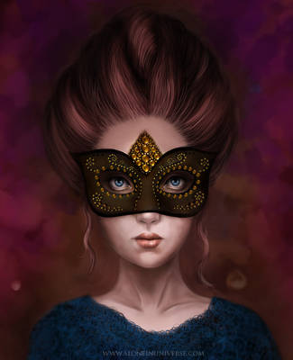 Girl behind mask by AloneInUniverseArt