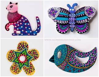 Hand painted decorations by AloneInUniverseArt