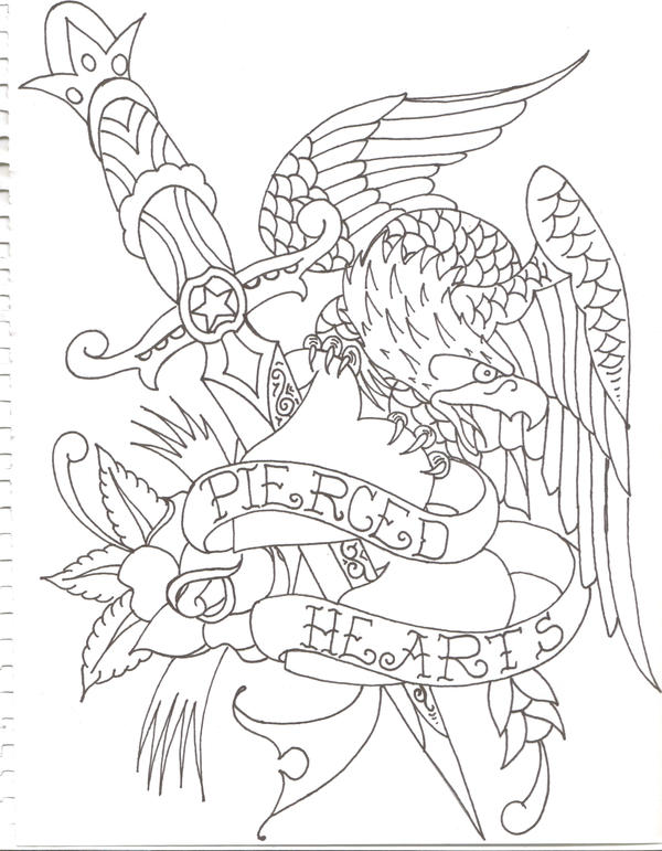 Eagle Tattoo Line Drawing : Eagle tattoo by munkybrain on deviantart