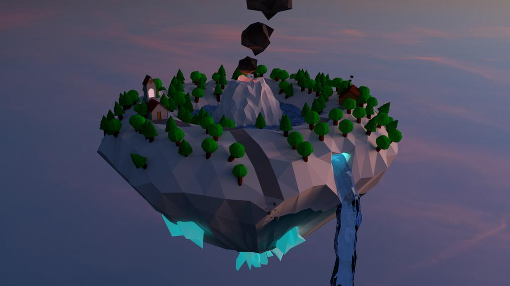 Low-Poly Flying Island by UnusedPixel