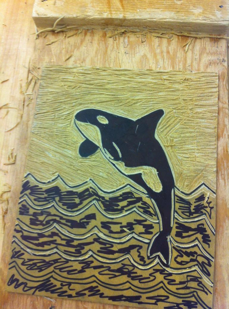 Orca linoleum carving by uniquedrawing on deviantart