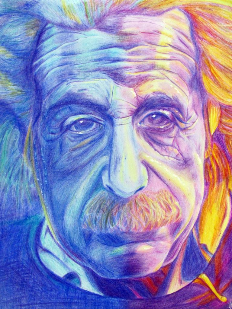 Albert einstien in color pencil sketch by cocoluvv on for Easy colour sketch pen drawings