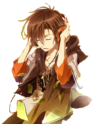 Anime Boy Wearing Headphones Clear Background By