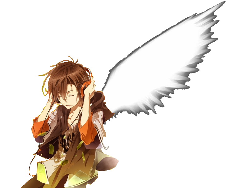 Anime Boy Headphones Wings Clear Background By BlackWhite101