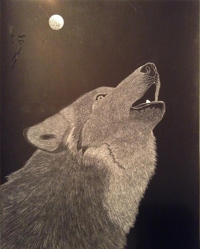 Howling Wolf Scratch Art By AligerousWayfarer