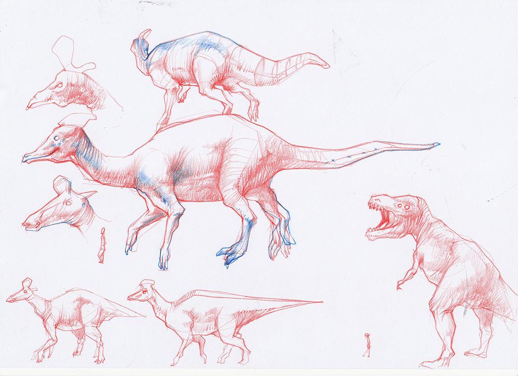 Dinosaur Lambeosaurus w by Kaikaikiki