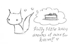 Fluffy little kitty loves cake by zombiepencil
