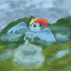 Redrawing Rainbow Dash as a Griffon