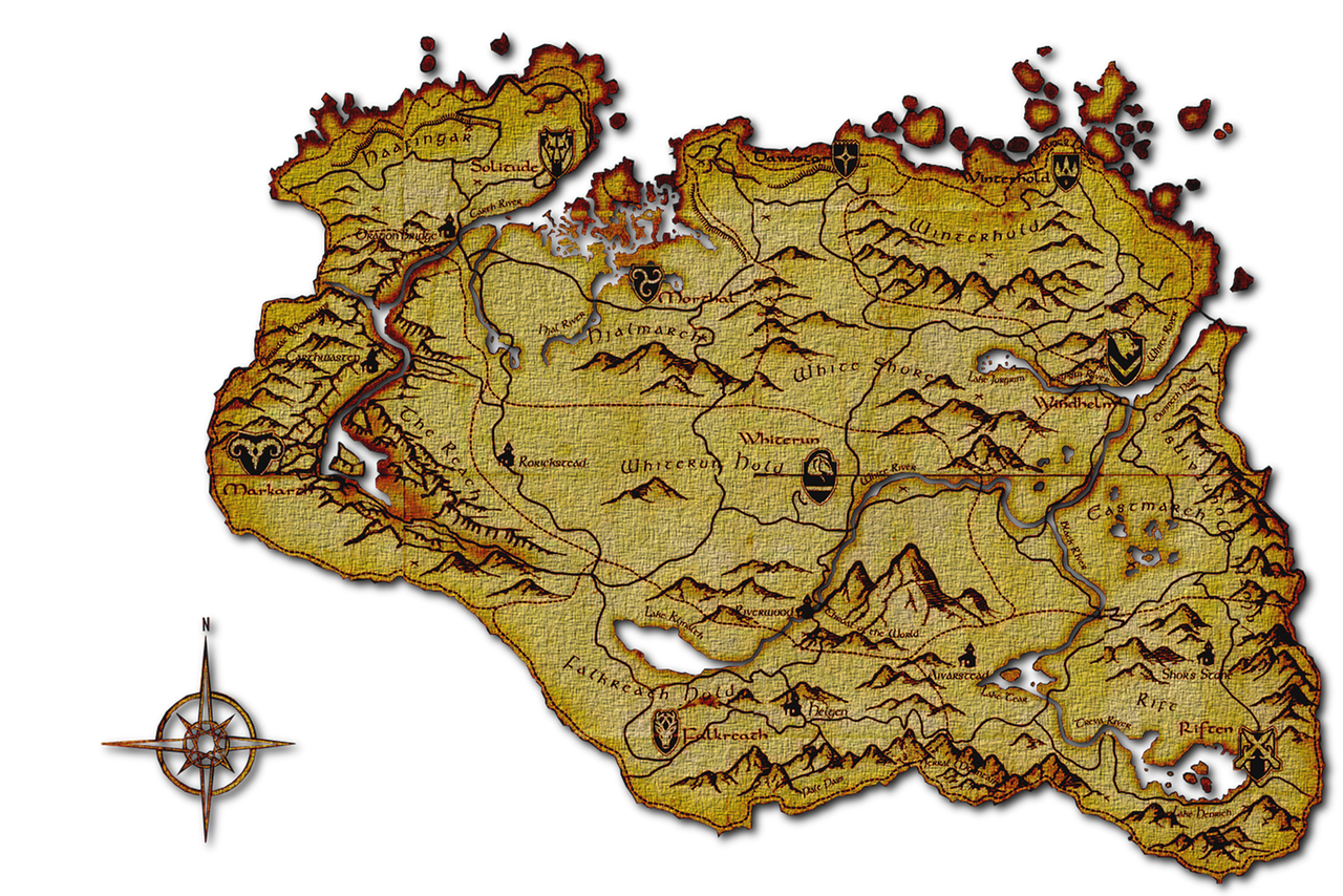 Sizzling image within printable skyrim map