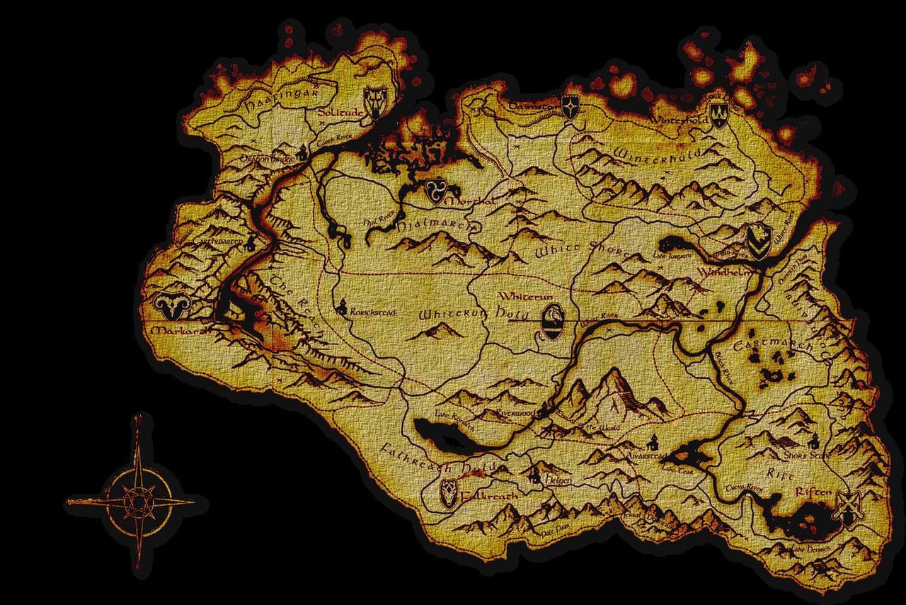 Sizzling image within printable skyrim map